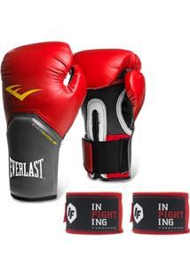 Kit Muay Thai Luva Everlast 16Oz E Bandagem Infighting - Unissex