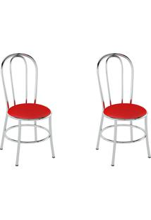 Kit 2 Cadeiras Pc01 Assento Vermelho - Pozza