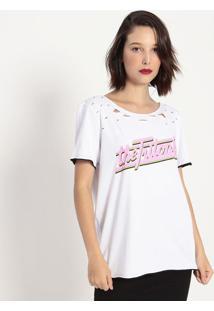 Camiseta Com Puídos- Branca & Rosa- Tritontriton