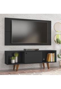 Rack Com Painel Para Tv Até 42 Polegadas Salah Preto 135 Cm