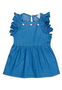 Vestido Jeans Infantil Menina Com Babado Toddler Hering Kids Azul