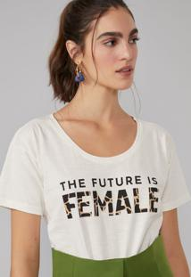 T-Shirt Amaro The Future Is Female Off-White - Branco - Feminino - Dafiti