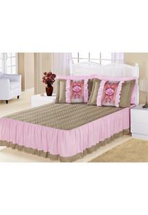 Colcha Casal Bia Caqui Com Rosa Liso Com 5 Peças - Aquarela - Kanui