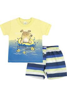 Conjunto Bebê Menino Meia Malha - Masculino-Amarelo+Azul