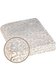 Manta Fleece Arabescos Casal- Branca Bege- 210X230Lepper