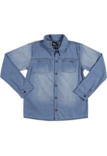 Camisa Manga Longa Juvenil Para Menino - Azul Claro
