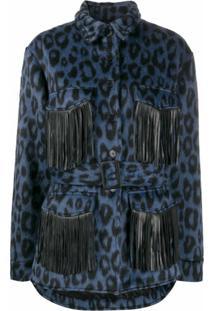 Andamane Jaqueta Com Estampa De Leopardo E Franjas Vita - Azul