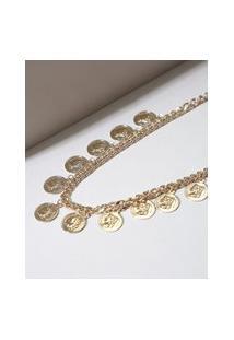 Colar Feminino De Corrente Com Medalhas Dourado