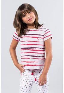 Camiseta Listra Pintura Reserva Mini Feminina - Feminino-Rosa