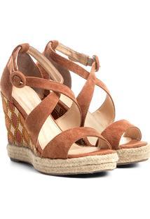 3f3239459 Sandália Couro Anabela Shoestock Plataforma Com Bordado Feminina - Feminino -Caramelo