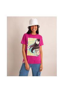 Camiseta De Algodão Mulan Manga Curta Decote Redondo Pink