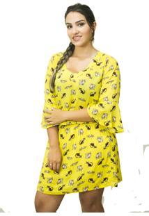 Vestido Urban Lady Manga 3/4 Com Estampa De Gatinhos Amarelo