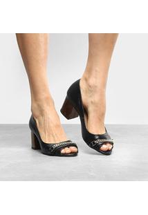 Peep Toe Couro Shoestock Salto Grosso Tartaruga - Feminino