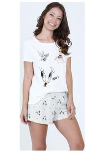 Pijama Feminino Short Doll Estampa Looney Tunes