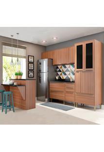 Cozinha Compacta Calábria Com Tampo 12 Portas Nogueira - Multimóveis