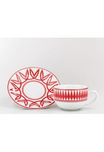Conjunto De Xicaras Para Café C/ Pires Porcelana Schmidt 06 Peças - Dec. Helena