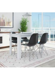 Conjunto De Mesa 5231 Branca Com 4 Cadeiras Eames Base Metal Preta