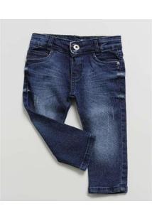 Calça Bebê Jeans - Unissex-Azul