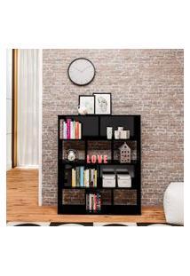 Estante Para Livros Artely Book Com 10 Nichos Preta