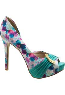 Scarpin Peep Toe Dm Extra Estampado Multicolorido Dme1774123-16 Numeração Especial