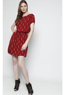Vestido Com Amarração - Vermelho Escuro & Brancofolha