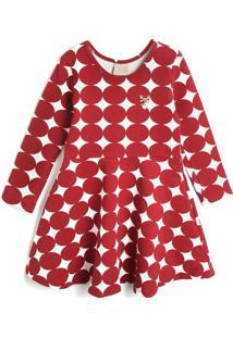 Vestido Milon Infantil Geométrico Vermelho/Branco - Tricae