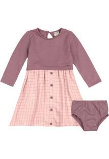 Vestido Bebê Com Calcinha Xadrez