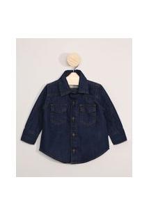 Camisa Jeans Infantil Manga Longa Azul Escuro