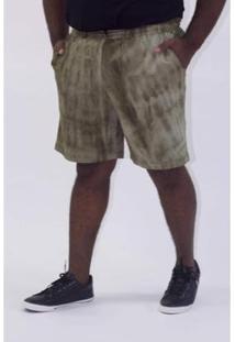 Bermuda Kauê Plus Size Manchada Masculina - Masculino-Verde