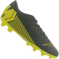 Centauro. Chuteira De Campo Nike Mercurial Vapor 12 Club Mg - Adulto - Cinza  Escuro Amarelo 1dbd3550c32ce