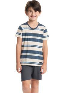 Pijama Infantil Masculino Curto Listrado José