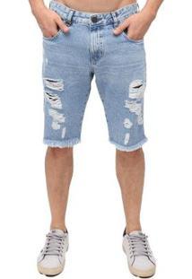 Bermuda Rock&Soda Masculina Jeans Destroyed Moderna Casual - Masculino-Azul