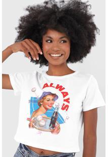 Camiseta Cropped Coca-Cola Jeans Always Branca