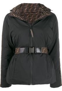 Fendi Logo Lined Puffer Jacket - Preto