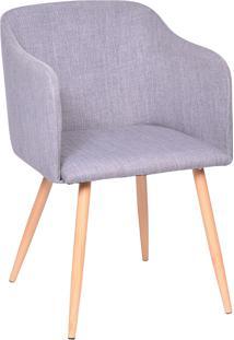 Poltrona Com Assento Linho 1126-Or Design - Cinza / Madeira