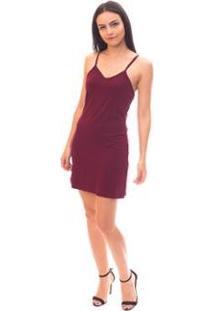 Vestido Slip Dress Moda Vicio Feminino - Feminino-Vinho