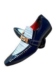 Sapato Masculino Italiano Oxford Em Couro Art Sapatos Azul Branco