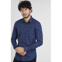 6c0a268e47 Camisa Masculina Slim Estampada De Folhagem Manga Curta Azul Marinho