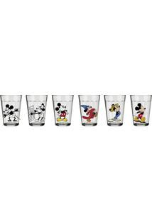 Conjunto De Copos Linha Do Tempo Mickey 90 Anos – Nadir - Incolor