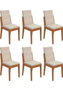 Conjunto Com 6 Cadeiras Lira L Rovere E Bege