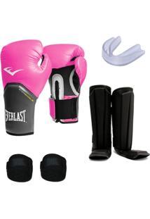 03f0bef043 Kit Muay Thai Luva Everlast 14Oz Caneleira Bandagem Bucal - Unissex