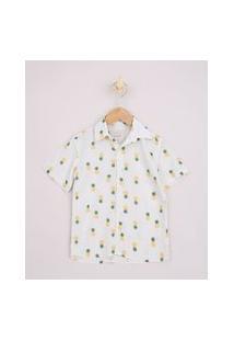 Camisa Infantil Estampada Abacaxi E Chevron Manga Curta Off White
