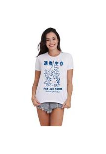 Camiseta Jay Jay Basica Japan Shark Branca Dtg