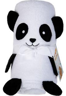 Manta Panda Fleece- Preta Branca- 78X120Cm- Lelepper