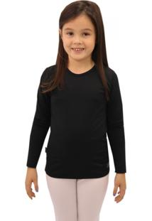 Camiseta Térmica Question Sport Com Fleece Interno Infantil Preta