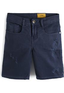 Bermuda Jeans Vr Kids Menino Liso Azul-Marinho
