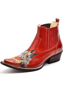 Bota Country Top Franca Shoes Bico Fino Verniz Masculino - Masculino-Vermelho