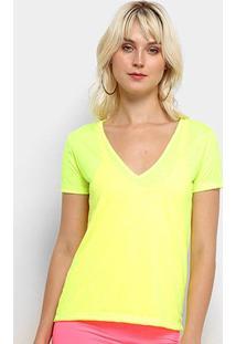 Camiseta Flora Zuu Decote V Neon - Feminino-Amarelo