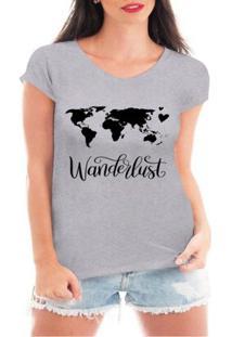 Camiseta Criativa Urbana Wanderlust Viagem Mapa - Feminino-Cinza