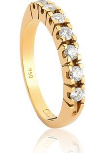 Meia Aliança De Ouro 18K Com Diamantes-Coleção True